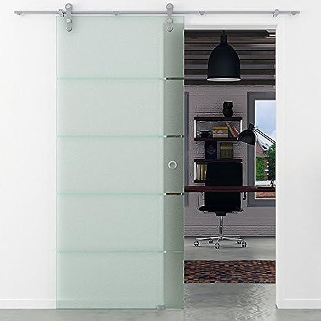 Porta scorrevole vetro orizzontale strisce levidor in acciaio inox ...