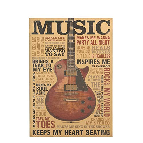 Music Guitar A Style Poster Classic Nostalgic Vintage Kraft Paper Poster Bedroom Living Room Wall Sticker 51.5x36cm