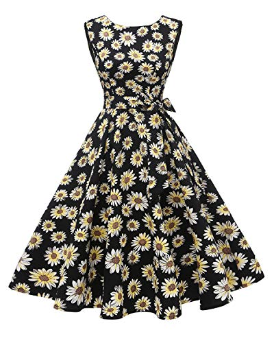 Hanpceirs Women's Boatneck Sleeveless Swing Vintage 1950s Cocktail Dress Daisy L