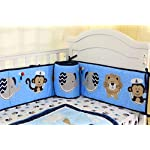 Spring-Baby-Nautical-Crib-Bedding-Set-7-Piece-Monkey-Elephant-Lion-and-Whales-for-Baby-BoysBlueGray-Sea-Journey-Pirate-Cotton-Crib-Set-Including-Bumper-Pads