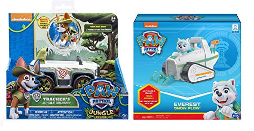 Paw Patrol Everest's Rescue Snowmobile & Paw Patrol, Jungle Rescue, Tracker's Jungle Cruiser, Vehicle & Figure Includes Blizy Pen