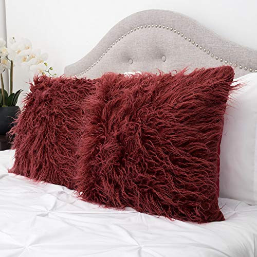 Sweet Home Collection Decorative Throw Pillows Set of 2 Mongolian Long Hair Faux Fur Accent Soft and Fuzzy Cushion, Burgundy Red