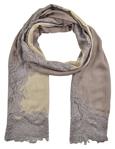 AAURAM PURE PASHMINA SILK WOOL WOMENS SHAWL SCARF WRAP FRENCH LACE