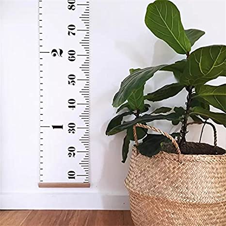 Baby Growth Chart Wall Hanging Ruler Black Amariver Canvas Removable Height Growth Chart Wall Room Decoration for Kids Children,79 x 7.9