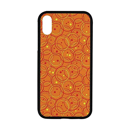 - Burnt Orange Rubber Phone Case,Circle Patterns in Fashion Trend Colors on Retro Dotted Background Decorative Compatible with iPhone XR