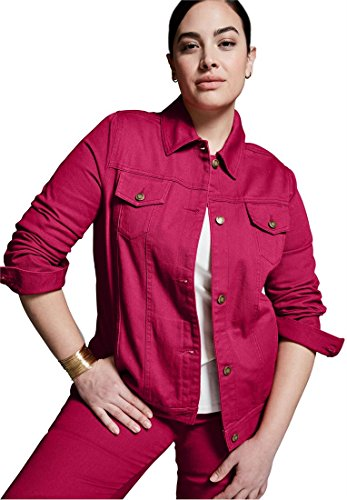 Jessica London Plus Size Jean Jacket with L-Pockets (Ruby Rose,18) (Washed Twill Jacket)