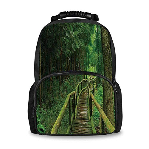Jungle Adorable School Bag,Rainforest in Thailand Foliage Greenery Wooden Pathway Trekking Primeval Ancient for Boys,12