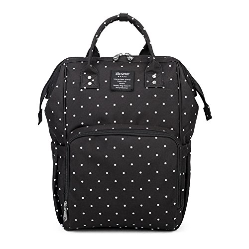 Qimiaobaby Diaper Bag Backpack Waterproof Large Capacity Insulation Travel Back Pack Nappy Bags Organizer, Multi-Function, Fashion and Durable (Black dots)
