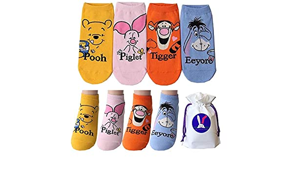 Disney Character Ankle Socks with Pouch Pack of 4 pairs - Winnie the Pooh  and Friends Piglet Tigger Eeyore at Amazon Men s Clothing store  a79441d47e