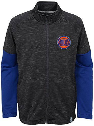Outerstuff NBA New York Knicks Youth Boys Traveling Full Zip Warm-Up Jacket, Small(8), Charcoal