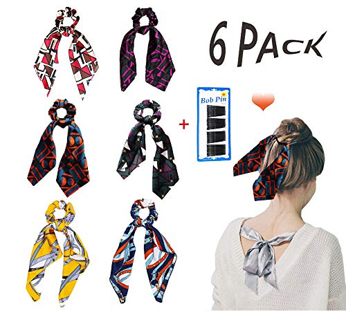 Greffor 6Pcs Hair Scrunchies Scarf Silk Hair Bow Scrunchies Long with 5 cm Bobby Pins Black(36Pcs) Ponytail Holder Vintage Hair Accessories for Girls Women (The Plaid Pattern)