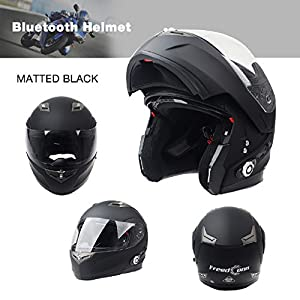 FreedConn Bluetooth Motorcycle Helmets Integrated Modular Flip up Dual Visors Full Face Built-in Bluetooth Intercom Communication Range 500M FM Radio (Matte Black,Large)