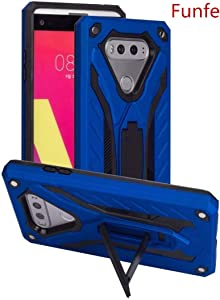 Funfe LG V20 Case, Heavy Duty Built-in Kickstand Protective Cases for LG V20 Dual Layers Armor Shock Absorption Impact Resistant Rugged Stand Back Cover (Blue)