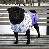Dog coat with unicorns - Dog clothes for pug - Girl dog coat - White and purple cute dog jacket with side zipper