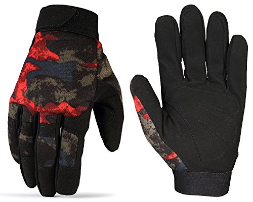 JIUSY Tactical Full Finger Gloves for Cycling Motorcycle Motocross Riding Driving ATV Bike Hunting Hiking Airsoft Paintball Shooting Mechanic Work Size X-Large Camouflage Red Basic Riding Gloves