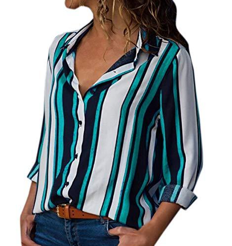 Manches Femmes Shirts OUFour Vert Chemises Longues Tee Rayure Blouses Tops Chemisiers Revers et Printemps Casual Hauts Automne xxwB8g1