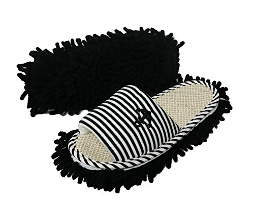 Friendly House Women's Microfiber Floor Cleaning Mop Slippers with Stripes and Embroidery (Suitable for women size 7-9, Black)