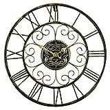 JYY Retro Reloj De Pared Grande,Metal Esquelético De Los Números Romanos del Reloj Silencioso para Sala De Estar Dormitorio Bar Cafetería,47cm Diámetro