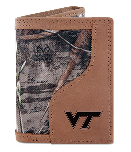 - Virginia Tech Hokies Tri-fold Realtree Max-5 Camo & Leather Wallet - Zep-Pro - NCAA