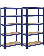 SONGMICS Magazijnrek, set van 2, rek voor zware lasten, kelderrek, 180 x 90 x 40 cm, tot 875 kg belastbaar, 5 verstelbare planken, plank van metaal, steekrek, werkplaatsrek, kelder, blauw GLR80BU