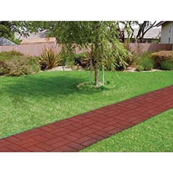EMSCO PATIO PAVERS DEEP RED BRICK PLASTIC 16u0026quot;X16u0026quot; ...