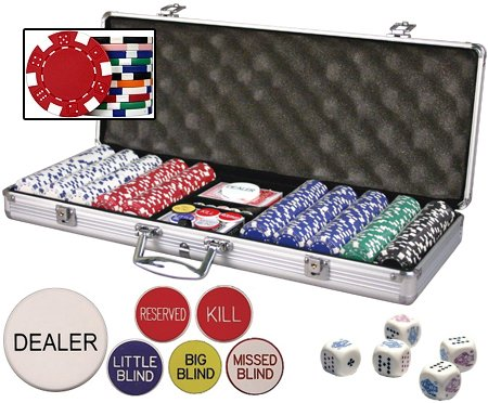 Personalized Poker Chipset (Custom Poker chip Set w/3 Initials Printed on both sides of the chips. Includes 500 11.5 gram chips, case & more.)
