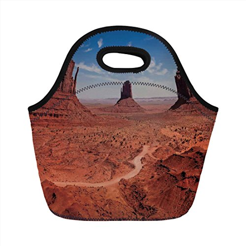 - Neoprene Lunch Bag,Western Decor,American Desert Arizona Canyon Monuments Valley National Park Wild West,for Kids Adult Thermal Insulated Tote Bags