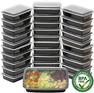 32 Pack - SimpleHouseware 1 Compartment Reusable Food Grade Meal Prep Storage Container Lunch Boxes, 28 Ounces from Simple Houseware