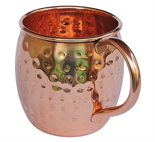STREET CRAFT Pure Copper Moscow Mule Mug 100% Pure and Solid Copper Mugs Capacity 16 Oz Unlined Mug No Nickel Interior Handcrafted Hammered Copper Mugs Pack of 1 Pcs