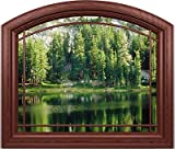 "Arched Sierra Lake Window Mural - 42"" x 36"" - Matte Finish"
