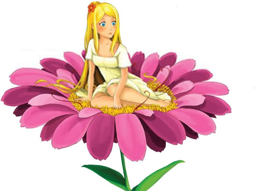 "5D DIY Diamond Painting Kits Cute Elf Cartoon Scene with Young Girl Sitting Big Flower White for Children 12"" X 16"" Full Drill Painting Arts Craft Canvas for Home Wall D¨¦cor Cross Stitch Gift"
