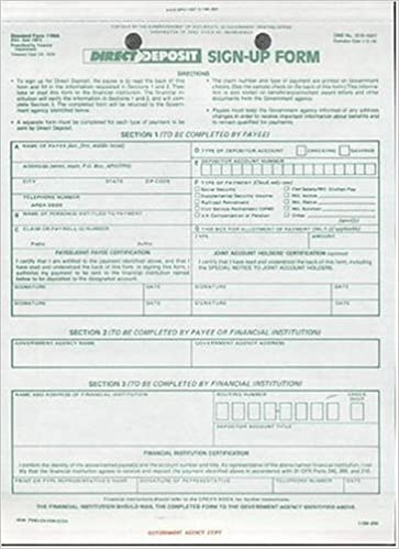 Direct Deposit SignUp Form Standard Form A Financial
