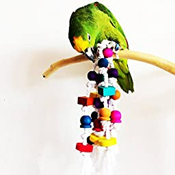 365mx Wooden Parrot Toys,Bird Toys,Colurful Rainbow Bridge, Chewing,Hanging Toy,Climbing Toys,Suitable for Parrot Macaw Cockatoo Cockatiel Conure,15inches,Pack of 1
