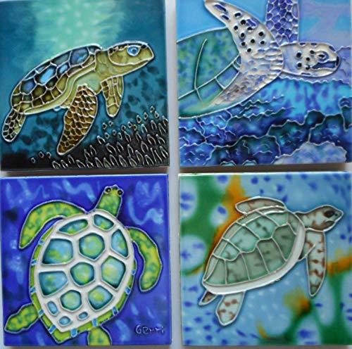 Turtle ceramic art tile set of four coasters 4 x 4 inches