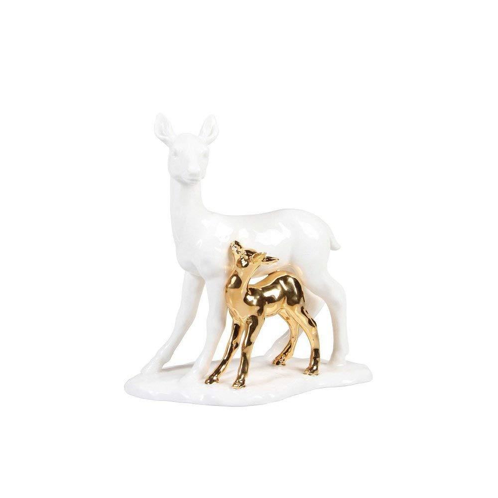&Klevering REH-Figur und Bambi aus Porzellan weiß und Gold 18,5 x 17 cm groß, in Geschenkbox