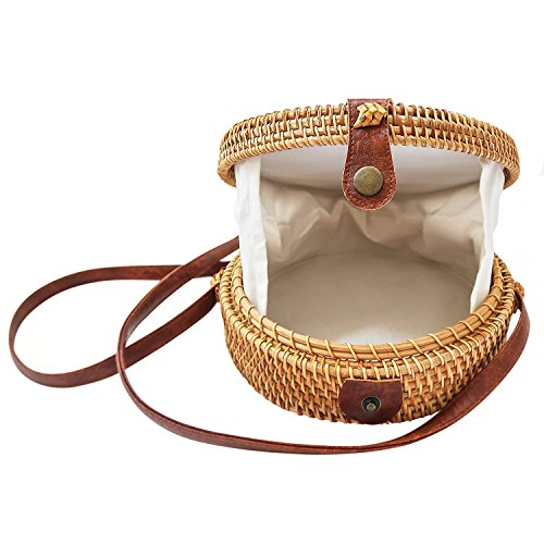 Bag Straps Rattan Leather Chic Natural Handwoven Shoulder Gyryp Round Hand qEXBxwT