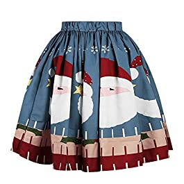 Jackilove Women's Skirt Elastic Waist Bubble Pleated Christmas Around Dress Print Santa Claus Fluffy Costume for Cosplay…