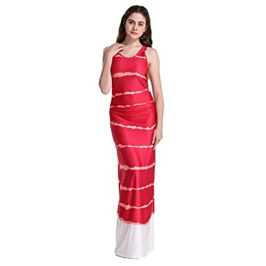 57671af1a73 Redgiants Womens Holiday Sleeveless Maxi Red Dress Long Maxi Dress Ladies  Summer Beach Slim Sundress at Amazon Women s Clothing store