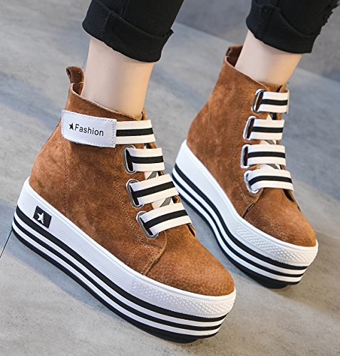 D2C Beauty Womens Snake Suede Skinned High Top Lace Up Velcro Wedge Synthetic Sneakers Brown-2 rfqLb7RRG