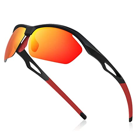 Avoalre® Sport Gafas de Sol para Hombre Gafas Unisex Conducto polarizado TR90 Super Light Light UV400 CE Certified - Rojo