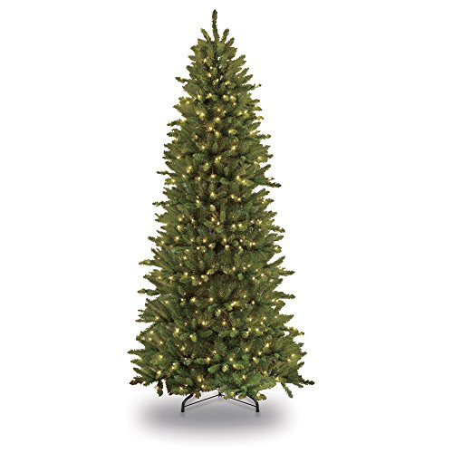 - Puleo International 12-Foot Pre-Lit Slim Fraser Fir 1200 UL Clear Lights Artificial Christmas Tree, Ft, Green