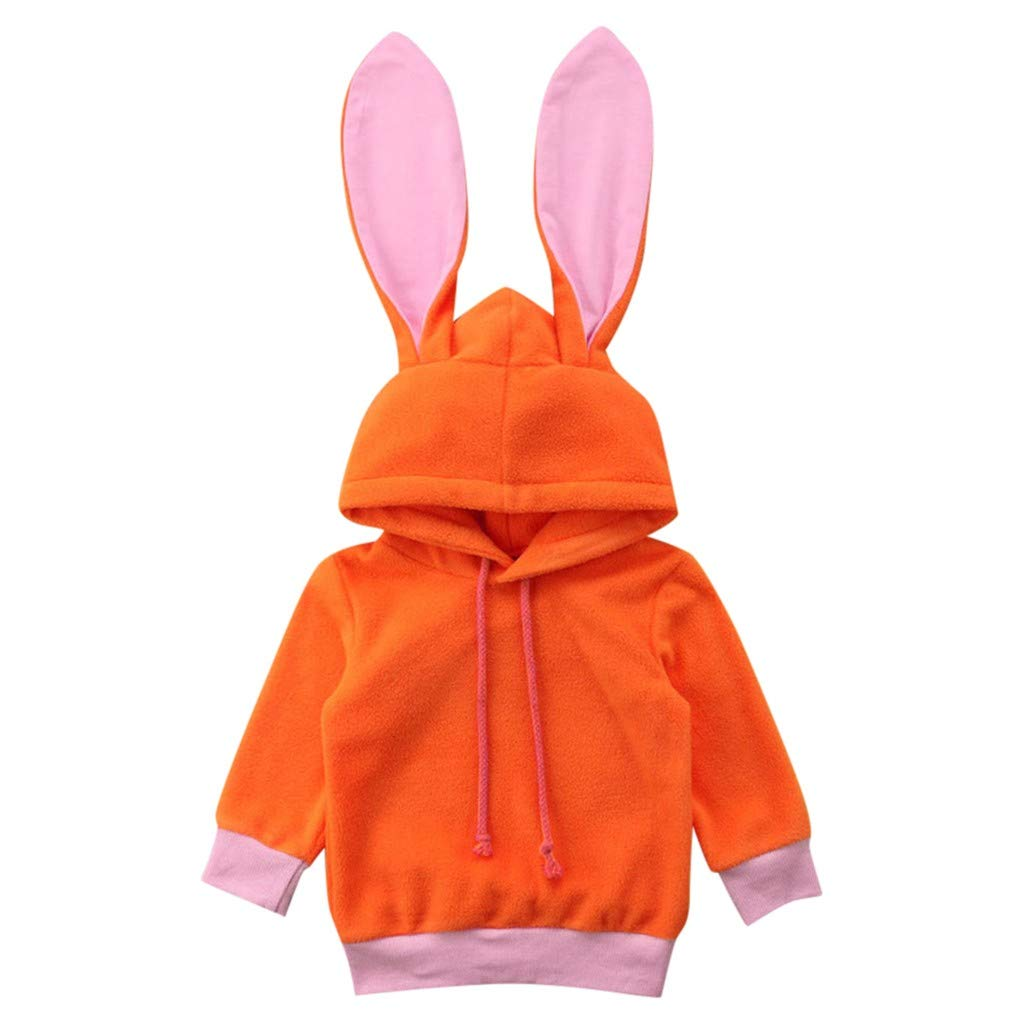 Toddler Baby Kids Girls Tops Long Sleeve Cartoon Rabbit Ear Hooded Sweatshirts