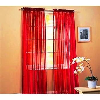 LuxuryDiscounts 2 Piece Solid Elegant Sheer Curtains Fully Stitched Panels Window Treatment Drape 54