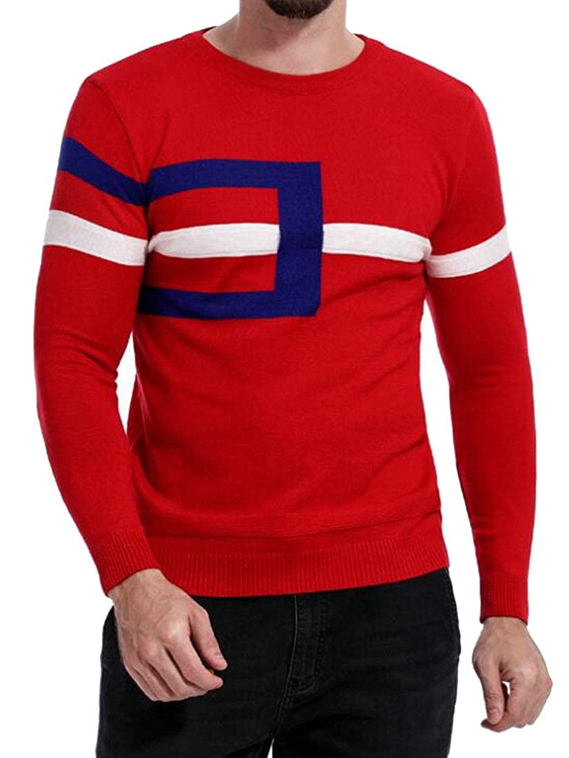 Jofemuho Men Stretch Autumn Winter Knitting Floral Round Neck Pullover Sweaters