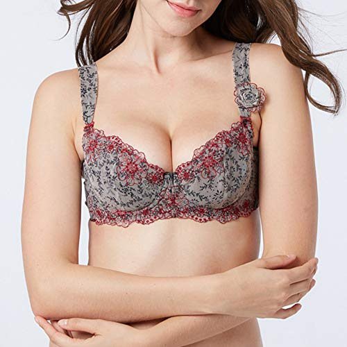 [Underwear Women]-beautiful Women Underwire Push Up Full Coverage Flower Embroidered Bra Underwear