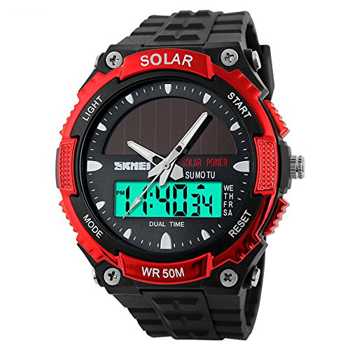 Analog Digital Sports Watch Solar Waterproof Dual Time Wristwatch Outdoor Watches military Large Display (Red) (Atomic Time Analog Digital Watch)
