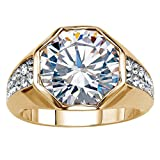 Palm Beach Jewelry Men's Round White Cubic Zirconia 14K Gold-Plated Octagon Ring