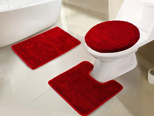 RT Designers Collection RGI01606 Imperial - Juego de Alfombrillas de baño (3 Piezas), Rojo, Bath Rug 18x30Contour Mat...