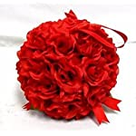 Decorland-7-Roses-Kissing-Ball-Red-Wedding-Pew-Bow-Silk-Flowers-Girl-Artificial-Flowers-Rose-Ball