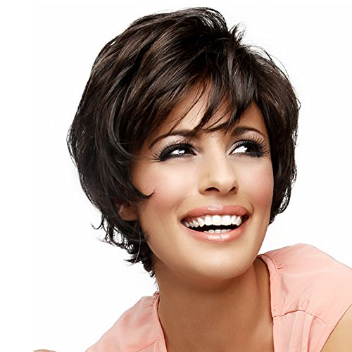Asifen Short Layered Wigs with Side Bangs Natural Human Hair Wigs for Women(Color 6 Deep Brown) - Adult Wiggles The Clown Costumes